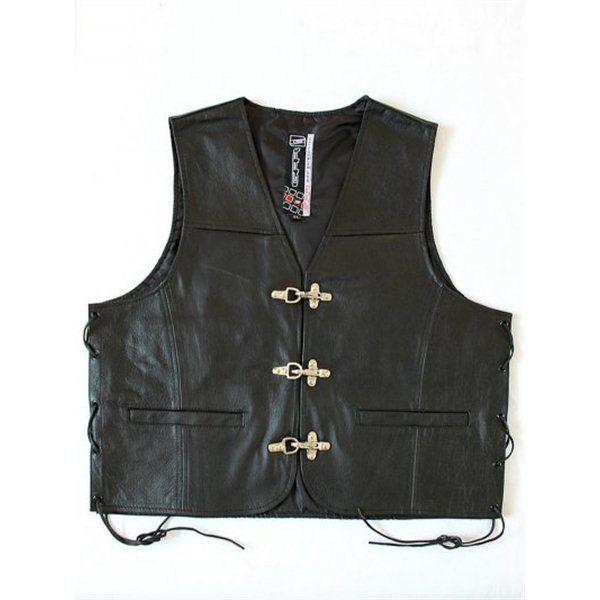 Pánská kožená vesta - zapínání na karabinu  3967110021a